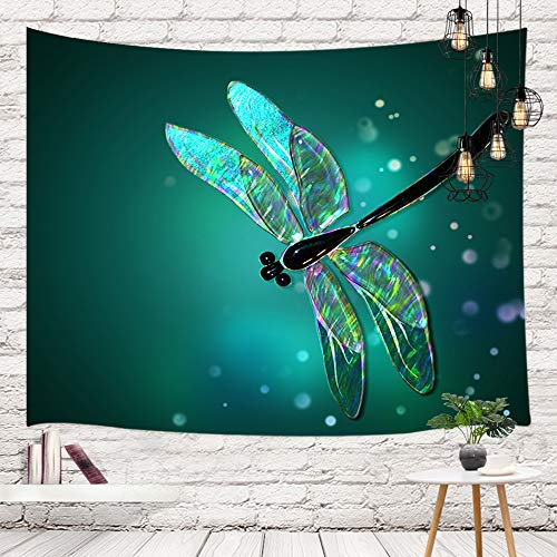 NYMB Fantasy Animals Tapestry Wall Hanging, Watercolor Dragonfly in Green Bright Spots Wall Tapestry Art for Home Decorations Dorm Decor Living Room Bedroom Bedspread, (Multi7, 80X60in)