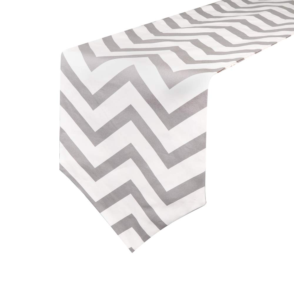 Uphome 1pc Classical Chevron Zig Zag Pattern Table Runner - Cotton Canvas Fabric Table Top Decoration, Grey and White by Uphome (Image #1)