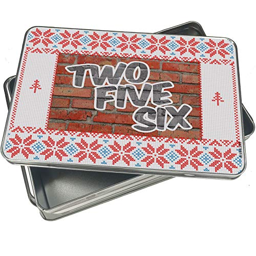 NEONBLOND Cookie Tin Box 256 Huntsville, AL brick Vintage Christmas Pattern ()