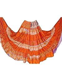1 Falda de baile, de seda con diseño tribal de gitanos de 7 metros, para danza del vientre, mezcla de seda y banjara