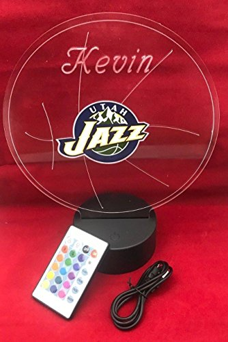 (Utah Beautiful Handmade Acrylic Personalized Jazz NBA Basketball Light Up Light Lamp LED Table Lamp, Our Newest Feature - It's WOW, Comes With Remote,16 Color Option, Dimmer, Free Engraved, Great Gift)