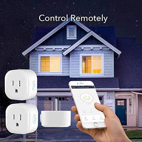 (AMA(TM) 2Pcs Wi-Fi Smart Plug Enabled Mini Outlet with Energy Monitoring Control By Smart Phone from Anywhere Anytime, Works with Amazon Alexa Echo and Google Assistant, No Hub Required (A))