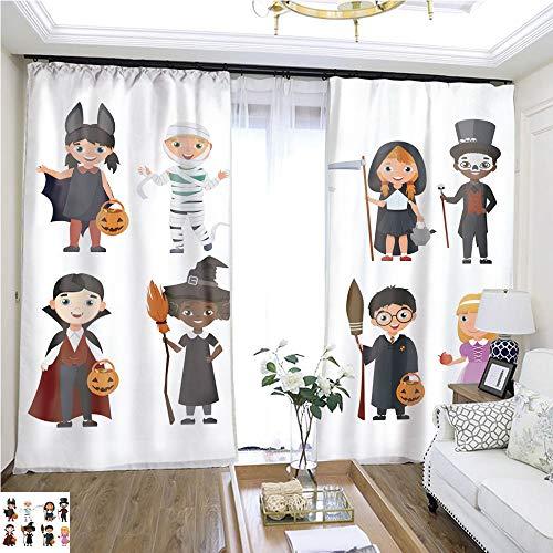 Gauze Curtain Cute Halloween Kids Set Cartoon Vector