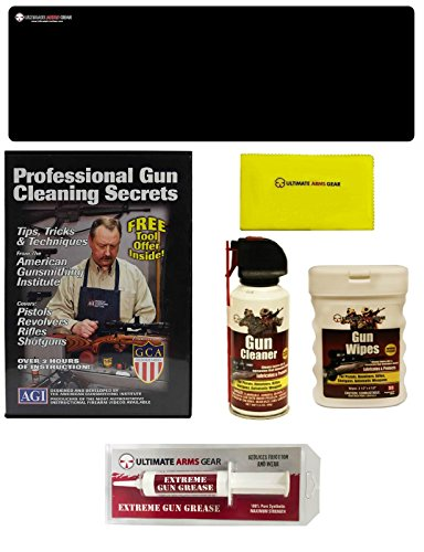 AGI DVD Pro Gun Cleaning Course Weatherby Mark V Tar-Hunt RSG-12 Bolt Action Rifle + Ultimate Arms Gear Gunsmith Cleaning Gun Mat + Cleaner Spray Can + Care Cloth + Wipes Patches Oil + Gun Grease
