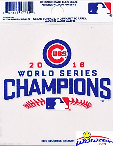Chicago Cubs 2016 WORLD SERIES CHAMPIONS Officially Licensed Static Cling Window Car Decal! Celebrate 108 Years in the making with this Brand New Re-Usable Logo Decal 3.5 x 3.75 Inches ! - Cal Look Window