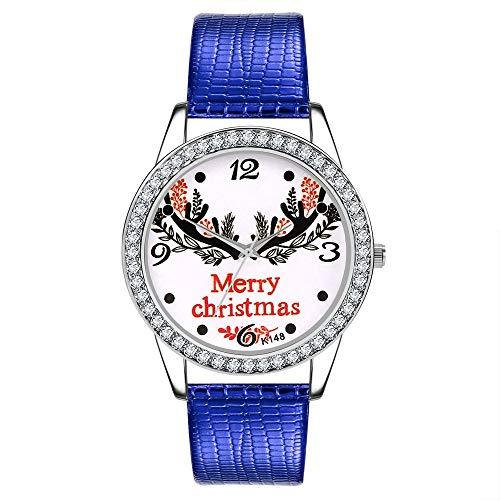 Dial Blue Alloy Case - Women Leather Strap Round Watch Fashion Merry Christmas Diamond Ultra-Thin Quartz Analog Wristwatch Gift (Blue, One)