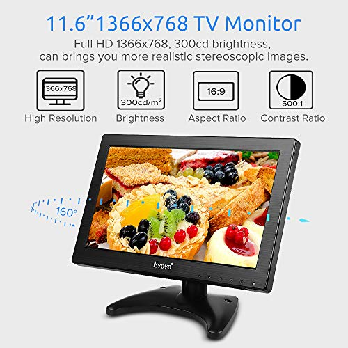Eyoyo 12 inch HDMI Small TV Monitor, Portable Kitchen TV 1366x768 16:9 LCD Screen Support TV/HDMI/VGA/AV/USB Input with Remote Control, Wall Mount Bracket for DVD PC Raspberry pi Computer by Eyoyo (Image #1)