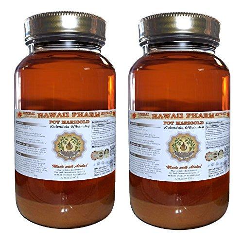 Calendula Liquid Herbal Extract (Pot Marigold Liquid Extract, Organic Pot Marigold (Calendula Officinalis) Tincture, Herbal Supplement, Hawaii Pharm, Made in USA, 2x32 fl.oz)
