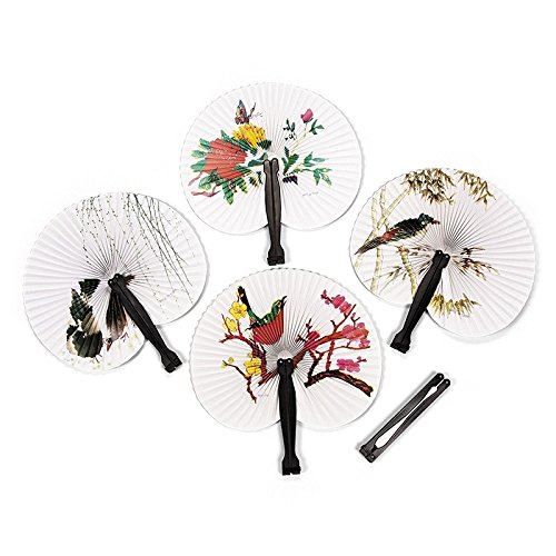 4U-Lucky Retro Chinese Paper Hand Fan Folding Wedding Party Decoration