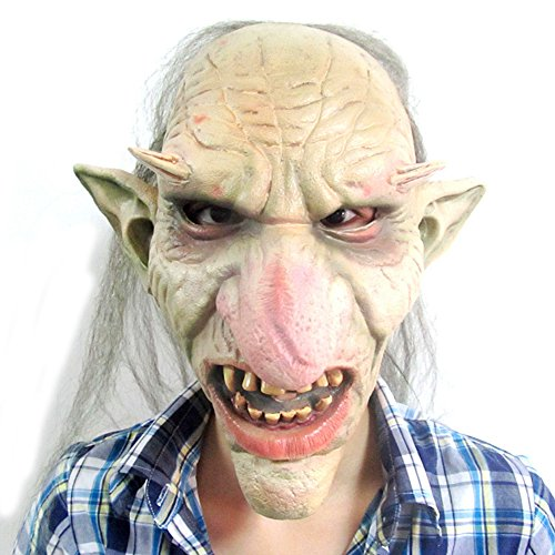 [Deluxe Rubber Novelty Goblin Gollum Mask for Halloween Cosplay Costume Party] (Gollum Mask Costume)