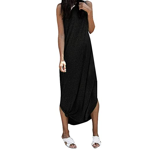 cee86c1f45 WYTong Women s Solid Sleeveless Crew Neck Midi Dress Summer Plus Size Loose  Long Dresses(Black