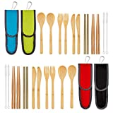 4 Pack Bamboo Cutlery Set | Flatware Set | Reusable Portable Utensils Travel Cutlery Set (Bags, Forks, Knives, Chopsticks, Spoons,Straws and Brushes) for Camping and BBQ (B)