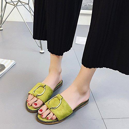 La Primavera E L'Estate Del Camoscio Pantofole Con Un Metallo Della Parola Piana Sandali Dichotomanthes Fine.,Green,Eu38,Cn39