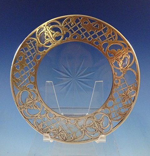 Sterling Silver and Glass Trivet Pierced Border 5 1/4