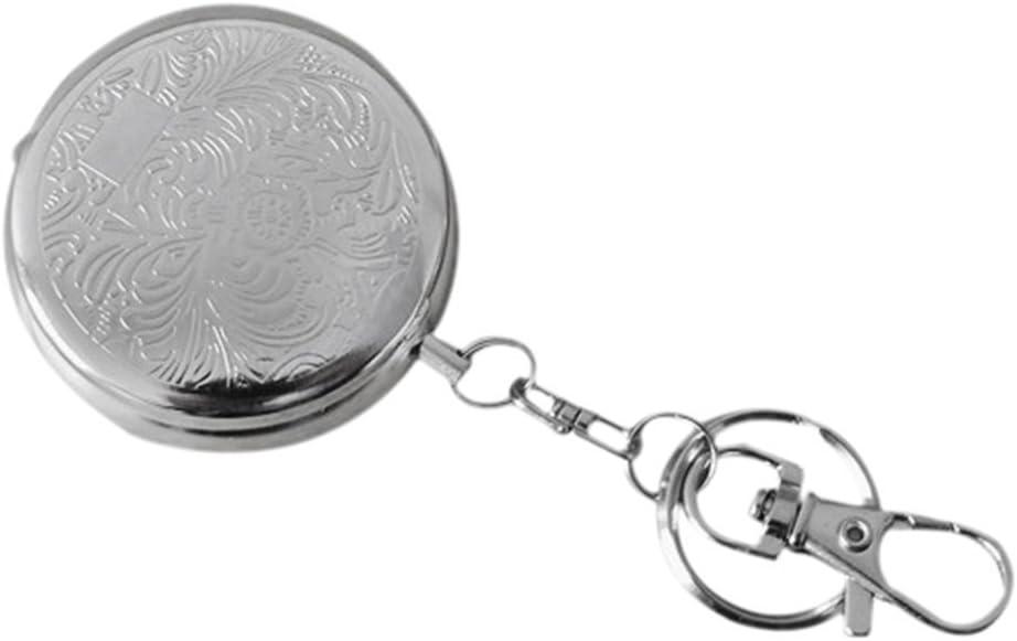Voyage Portable en acier inoxydable Cendrier circulaire avec porte-cl/és argent