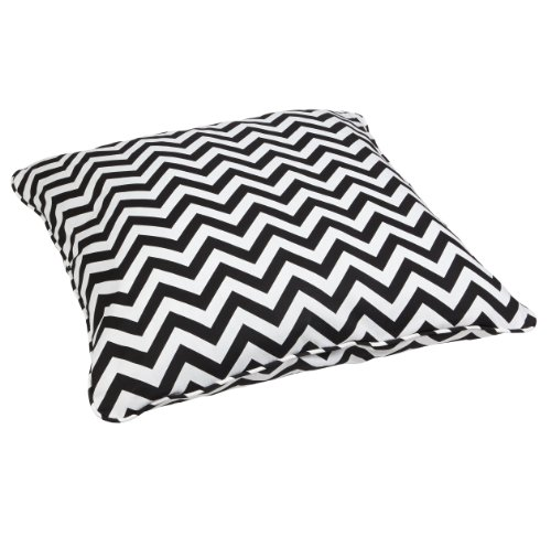 Mozaic Company Indoor/ Outdoor 26-inch Corded Floor Pillow, Black Chevron - Color: Black Chevron Materials: Polyester fabric, filled with 100% recycled polyester fiber Weather, mildew, fade and stain resistant with UV protection - patio, outdoor-throw-pillows, outdoor-decor - 51Kg8mb3nkL -