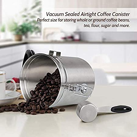 Suppyfly Airtight Coffee Canister Stainless Steel Container Coffee Ground Vault Jar with Valve for Kitchen