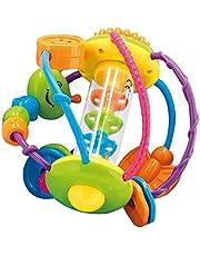 Bieco 41009065 Motorikbal, grijpbal en bijtring in één, grappige en kleurrijke activity bal, speelbal voor baby's en peuters vanaf 6 m+, meerkleurig