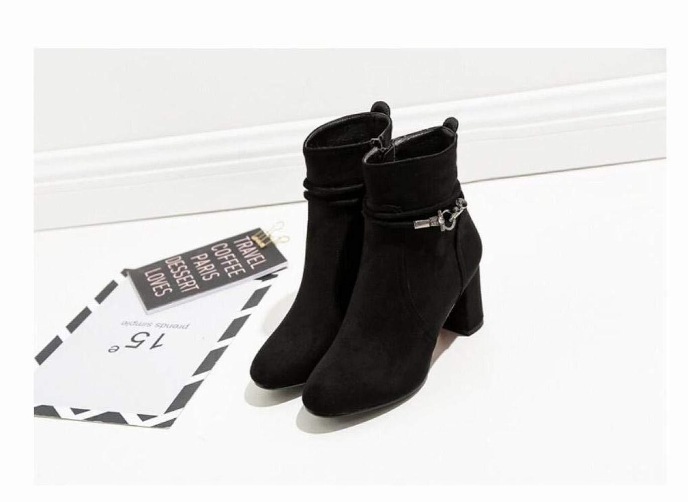 ZHRUI Damenschuhe Damenschuhe Damenschuhe - Herbst und Winter Warme Stiefel mit hohem Absatz Spitz mit schwarzen Stiefeln Größe Damenstiefel (Farbe   Schwarz, Größe   EU 40) e0a05f
