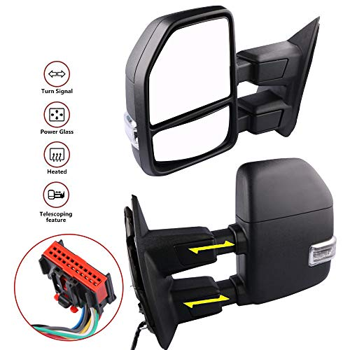 MOSTPLUS New Power Heated Towing Mirrors for Ford F250 F350 F450 F550 Super Duty 2008 2009 2010 2011 2012 2013 2014 2015 2016 w/Turn Signal,Clearance Light (Set of 2)
