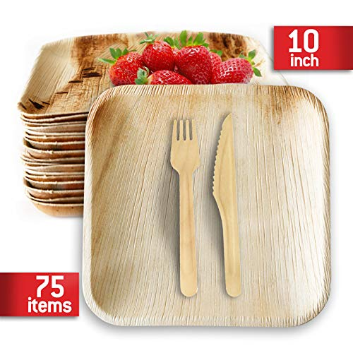 (Compostable Plates Pack 75(10 Inch) 25 Forks 25 Knifes 25 Palm Leaf Plates-our Biodegradable Plates Top Quality,We Use Eco Friendly Products For Party Plates-alternative to Bamboo Plates By KIKI Green)