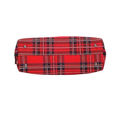 Borsa Signare a spalla convertibile in tessuto stile arazzo alla moda Tartan del Casato degli Stuart
