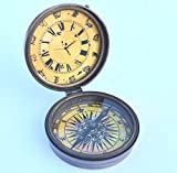 Twin Star Enterprises Antique Nautical Brass Metal Desk Clock with Working Compass