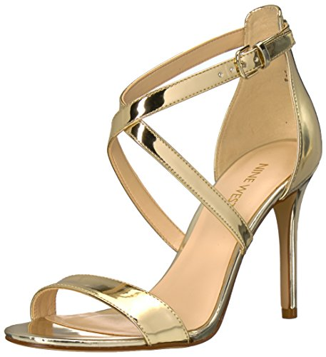 Nine West Women's MYDEBUT Synthetic Sandal, Light Gold, 7 M US