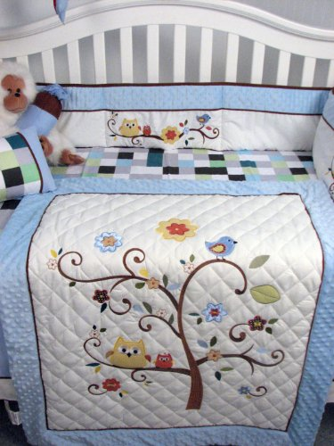 Soho Baby Blue Cherry Tree Nursery Bedding Set 14 Pcs
