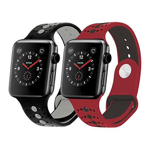 Rockvee for Sport Apple Watch Band 38mm 42mm Men Women, Silicone Iwatch Strap Replacement for Apple Watch Nike+, Series 3, Series 2, Series 1 (A# Black+Grey/Red+Black 2-Pack, 42mm) by Rockvee