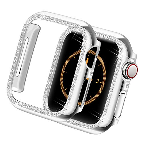 Yolovie for Apple Watch Case 40mm, Series 5 Series 4 iWatch Face Cover with Bling Crystal Diamonds Shiny Rhinestone Bumper, Electroplated PC Hard Protective Frame for Women Girl (Silver-Diamond, 40mm) Diamond Chrome Hard Case