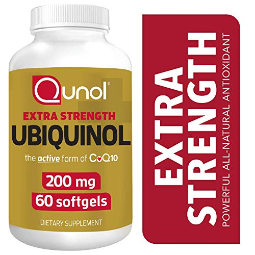- Qunol 200mg Ubiquinol, Powerful Antioxidant for Heart and Vascular Health, Essential for energy production, Natural Supplement Active Form of CoQ10, 60 Count