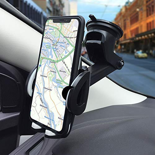Holly/&Jolly Cell Phone Holder For Car,Long Neck One Touch Phone Holder Cradle,Dashboard and Windshield Mount for Cell Phone,360/°Rotating Adjustable,For iPhone Series//Samsung//Huawei etc Black