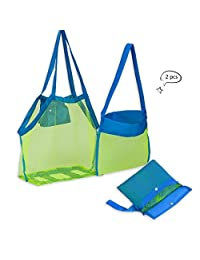 ZOMAKE Beach Mesh Tote Bag 2PCS Large Foldable Sand Away Children Beach Toys Organizer Storage Bags