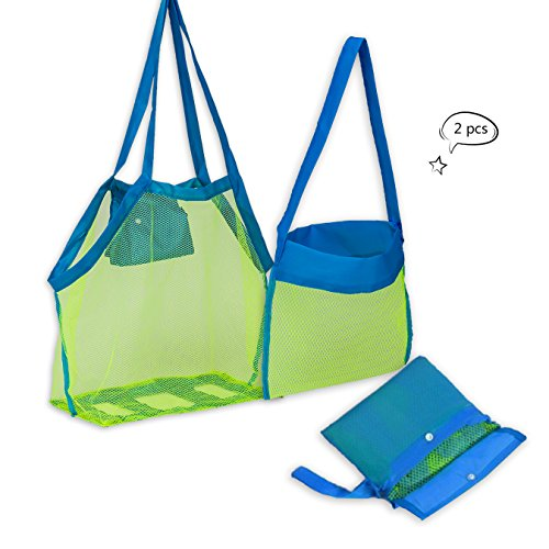 Mesh Collection Bag (ZOMAKE Beach Mesh Tote Bag 2PCS Large Foldable Sand Away Children Beach Toys Organizer Storage Bags)