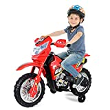 Costzon Ride On Motorcycle, 6V Battery Powered Electric Motorcycle with Lights, Music, Training Wheels (Red)