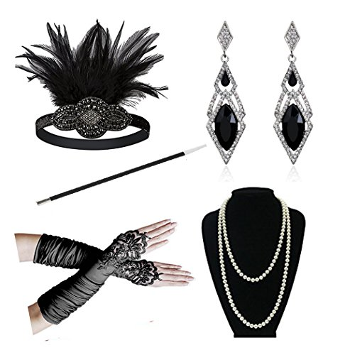 1920s Accessories Headband Necklace Gloves Cigarette Holder Flapper Costume Accessories Set for Women (Da) (Gatsby Outfits Women)