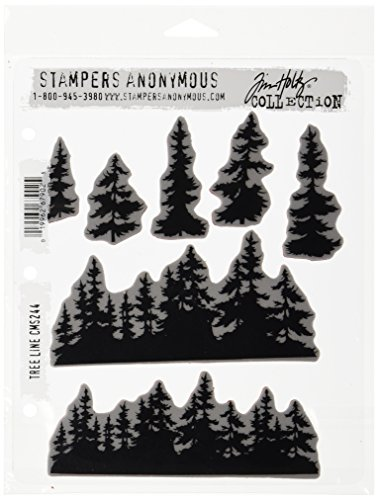 Stampers Anonymous Tim Holtz Cling Rubber Stamp Set, 7'' by 8.5'', Tree Line by Stampers Anonymous