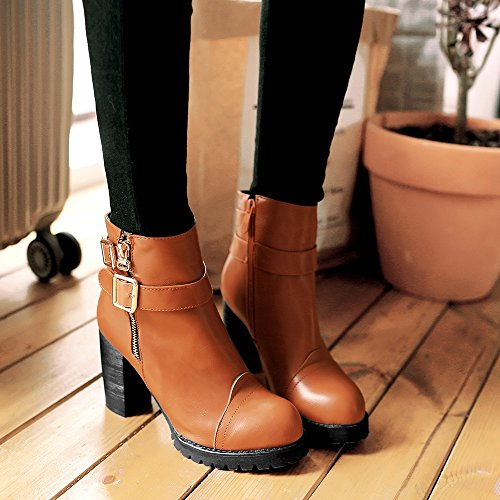 COOLCEPT Damen Mode Stiefel Zipper Extra Size Yellow-Brown