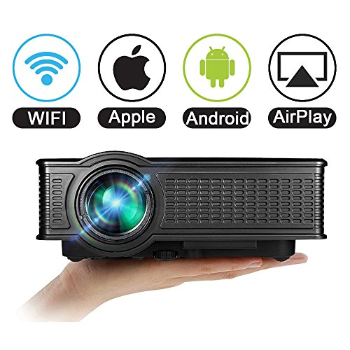 Projector wifi 1080p for iphone android vprawls 1500 for Best wireless mini projector