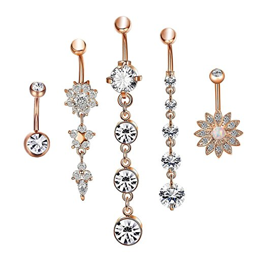 (Dangle Belly Button Rings, CrazyPiercing 5Pcs Stainless Steel Flower Pendant Crystal Belly Rings, for Women Girls Navel Rings Curved Barbell Body Piercing 14G, Rose Gold)