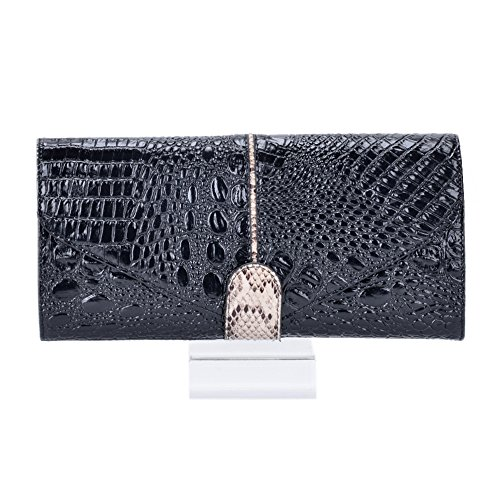 Women's Shoulder Wallet Clutch Bag Pattern Chain Wristlets Crocodile Party Messenger Black Dinner Leather ZrqwRZ0