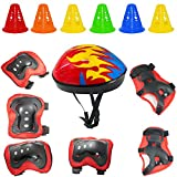 AYUQI 7Pcs Sports Protective set for Kids, Adjustable Elbow Pads Knee Pads Wrist Guard and Helmet with Free 6 Training Cones for Multi Sports: Cycling Skateboard Bicycle Scooter Roller Skate (Red)