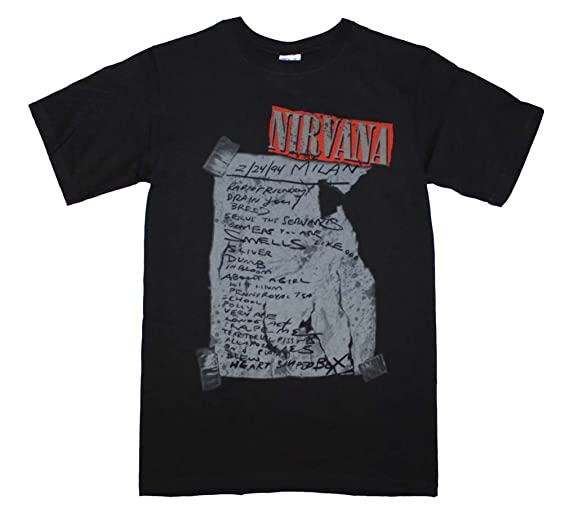 e74b03a78 Amazon.com: Unique Vintage Nirvana Milan Set List T-Shirt Small High ...