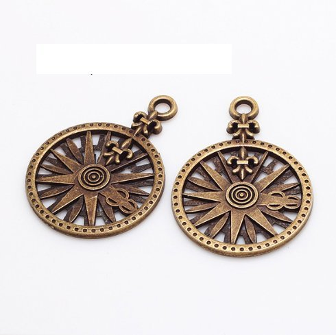 (10 pcs Antique Bronze Rose Compass Charms Travel Pendants 26x37mm (CB182))