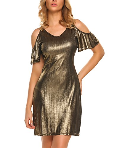 Elesol Women's Cold Shoulder Ruffle Trumpet Sleeves Party Nightclub Bodycon Mini (Gold Fancy Dress)
