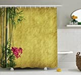 pink and yellow shower curtain - Ambesonne Bamboo House Decor Collection, Wild Orchides with Bamboo Leaves on Old Antique Paper Floral Asian Style Art, Polyester Fabric Bathroom Shower Curtain, 75 Inches Long, Yellow Green Pink