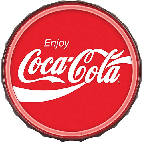 Enjoy Coca-Cola Bottlecap Shaped Sign LED Light Rope That Simulates Neon - Reproduction Vintage Advertising Sign - 12 inch Diameter