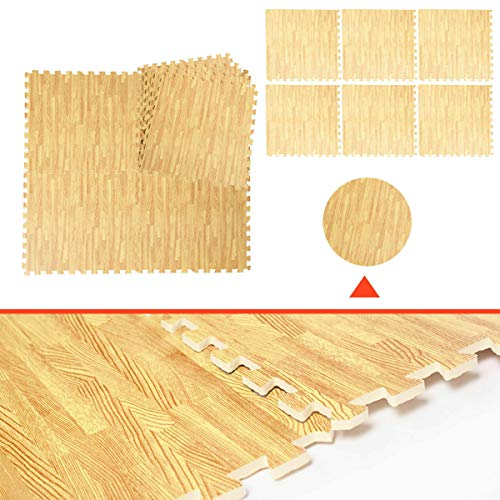 Foam Floor Interlocking Mat Show Floor Gym Mat Wood Color 48 Sq Ft