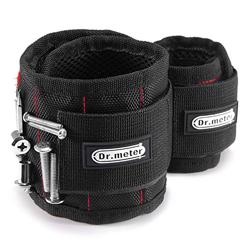 Magnetic Wristband, Dr.meter Magnetic Wrist Band Tool Belt with Super Strong 15 Magnets for Holding Screws Bolts Nails and Drill Bits [2 Packs]